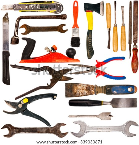 Big size collection of various used tools isolated on white background - stock photo
