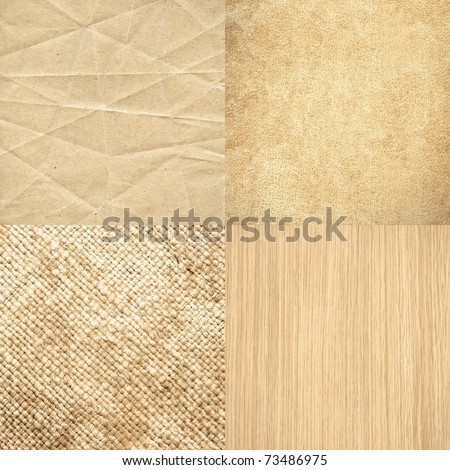 Big size set of four highly detailed textures in matching color - battered paper, grungy leather, old canvas and wood - stock photo
