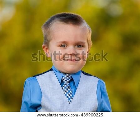Big smile little boy. he is a happy little kid - stock photo