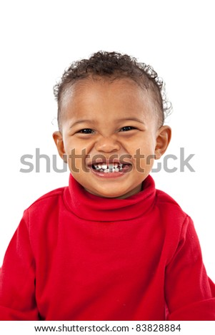 Big Smiling Adorable African American Boy on Isolated White Background