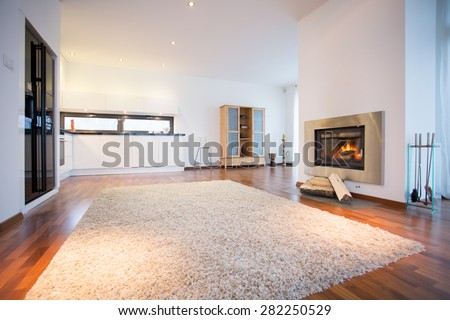 Big soft carpet on wooden floor in spacious living room - stock photo