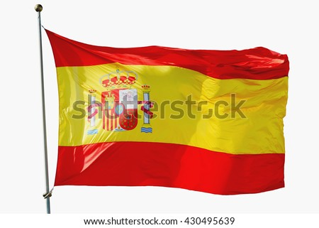 Big spain flag isolated waving on the wind