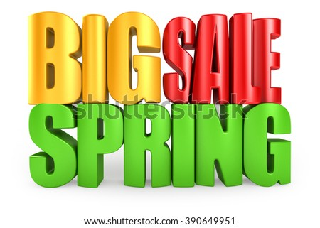 Big spring sale 3d text isolated over white background - stock photo
