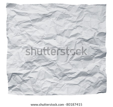 Big square crumpled paper on a white background. - stock photo