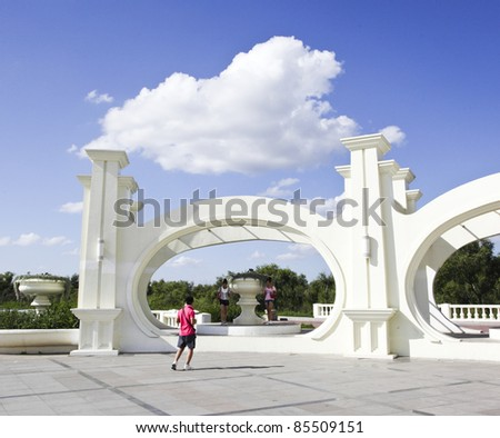 big square under blue sky in the northeast of china - stock photo