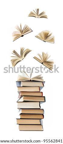 Big stack of books with opened books flying away (education concept) - stock photo