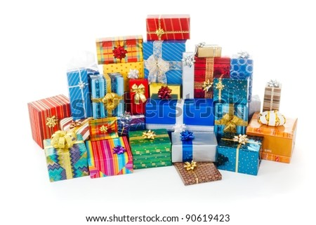 Big stack of colorful Christmas presents - stock photo