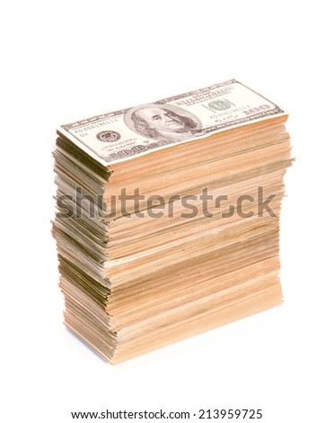 Big stack of dollar banknotes - stock photo