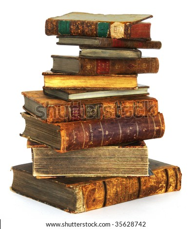 Big stack of old, antique books on white background - stock photo