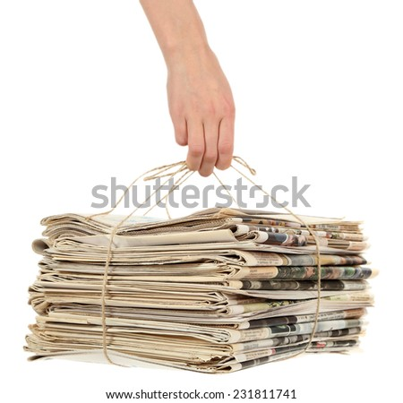 Big stack of papers, isolated on white - stock photo