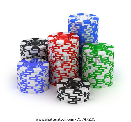 Big stack. Poker gambling chips isolated on white - stock photo