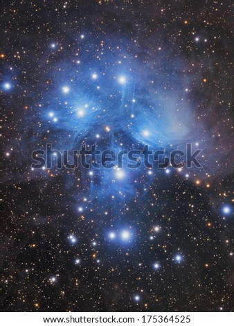 Big star-cluster with nebulosity in the zodiacal constellation of Bull. - stock photo