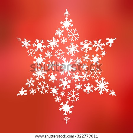 Big star of different snowflakes on background in different shades of red in square format - stock photo