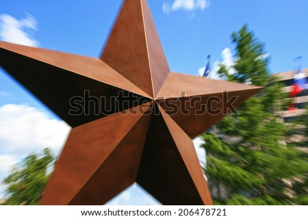 Big star with Explosion zoom at Austin downtown, Texas, US - stock photo