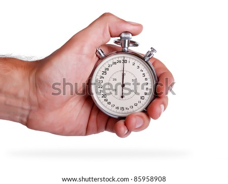 Big stopwatch in men's hand on white background