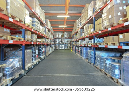 Big Storage Room in Distribution Warehouse - stock photo