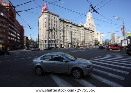 big street in Moscow - stock photo