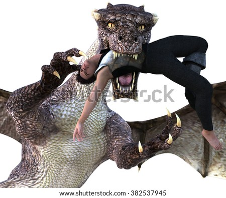 Big strong dragon with wings posing close to the camera on colored background for the image. The dragon tries to eat a man. 3D Illustration, 3D rendering - stock photo