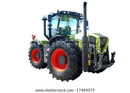 big strong tractor isolated