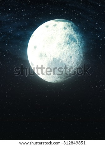 Big stylized moon in the night sky with stars. - stock photo