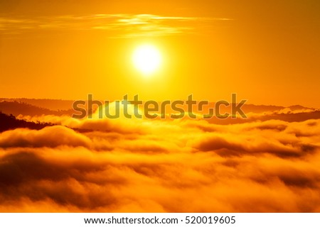 Big sun and Mist in sunrise,White balance orange