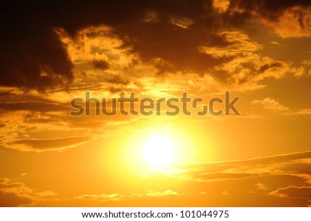 big sun. bright sunset photo - stock photo