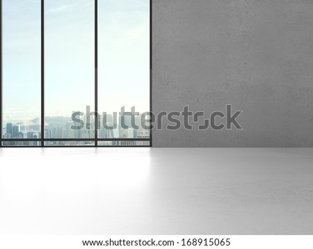 big sunlight office with window and gray wall - stock photo