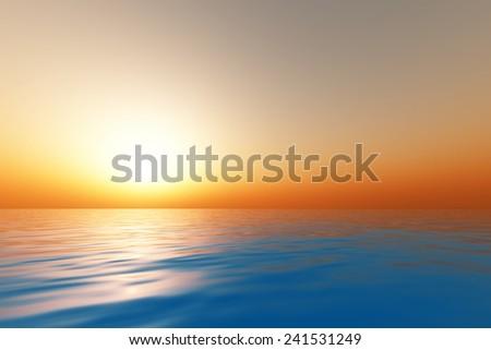 big sunset over calm sea - stock photo