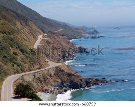 Big Sur Coastline and Pacific Coast Highway, in Northern California - stock photo