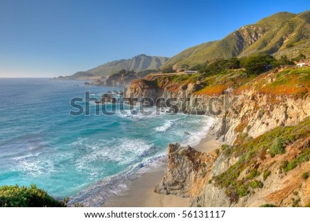Big Sur is a sparsely populated region of the central California  coast where the Santa Lucia Mountains rise abruptly from the Pacific Ocean. - stock photo