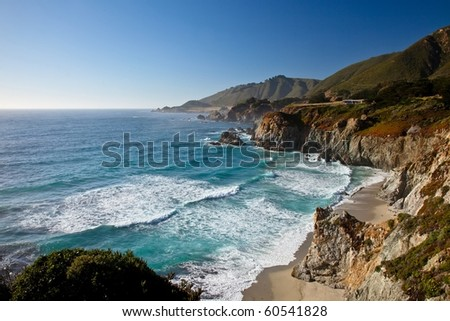 Big Sur is a sparsely populated region of the central California  coast where the Santa Lucia Mountains rise abruptly from the Pacific Ocean.