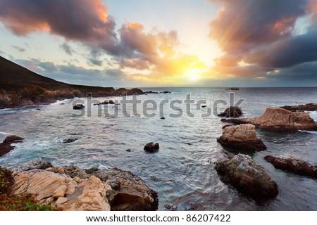 Big Sur Pacific Ocean coast at sunset - stock photo