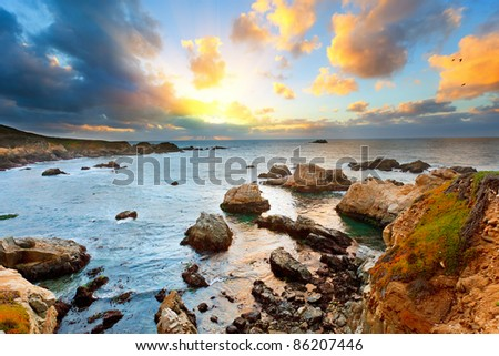 Big Sur Pacific Ocean coast at sunset - stock photo