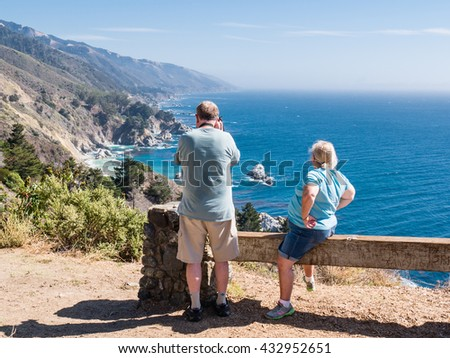 BIG SUR, USA - SEPTEMBER 17: Unidentified tourists on September 17, 2015 in Morro Bay, California, United States. It is 90 miles of coastline from the Carmel River  in San Luis Obispo County. - stock photo