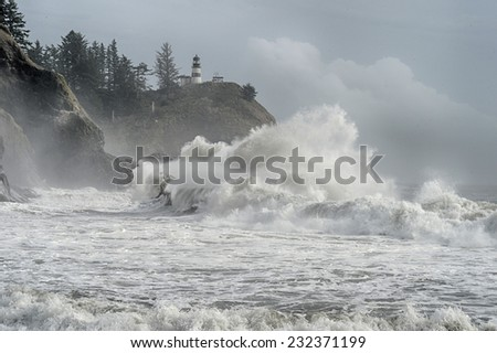 Big surf at Cape Disappointment Washington - stock photo