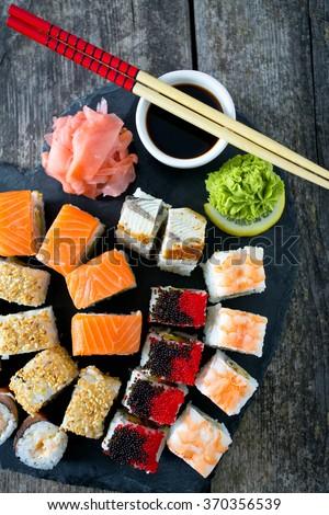 big sushi set - stock photo