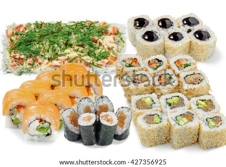 Big sushi set for fanciers of beer during the watching of the football match. Tasty rolls with salmon, sesam, cucumber, cheese and caviar. Delicious food from Asia. - stock photo