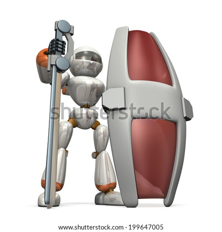 Big sword and a large shield. Robot soldiers have a robust defense. - stock photo