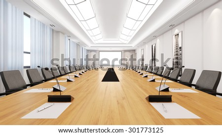 Big table in a bright modern conference room (3D Rendering) - stock photo