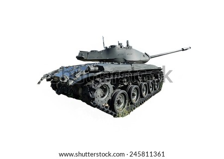 Big tank in white background - stock photo