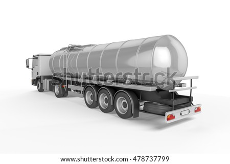 Big Tanker Truck isolated on white background. Mock up - 3D illustration
