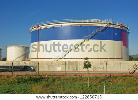 Big tanks used to store fuel - stock photo