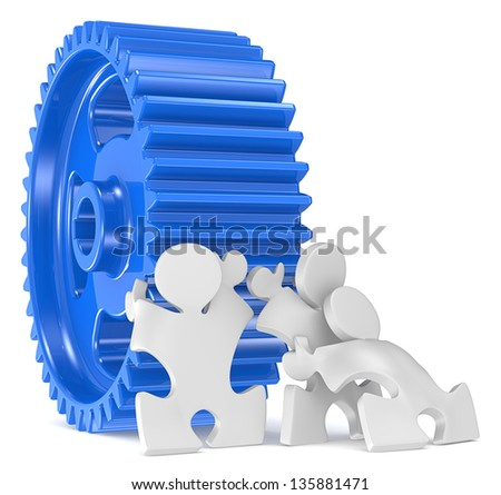 Big Task. Puzzle People x 3 moving big Cogwheel. - stock photo