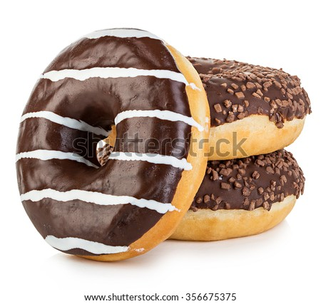 Big tasty appetizing donuts isolated close-up on a white background. - stock photo
