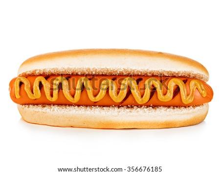 Big tasty appetizing Hot dog close-up isolated on a white background. Fastfood. - stock photo