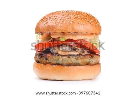 Big tasty hamburger burger with mushroom isolated on white background - stock photo