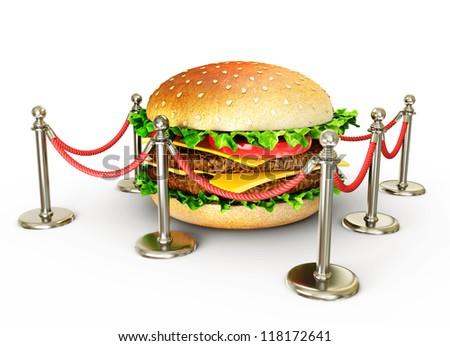 big tasty hamburger isolated on a white background - stock photo