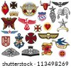 big tattoo collection (tattoo elements, tattoo symbols) - stock vector