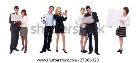 big team of all kinds of business people on white - stock photo