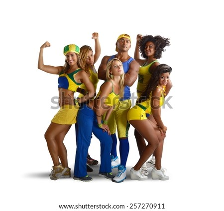 Big team of fitness and gym trainer - stock photo